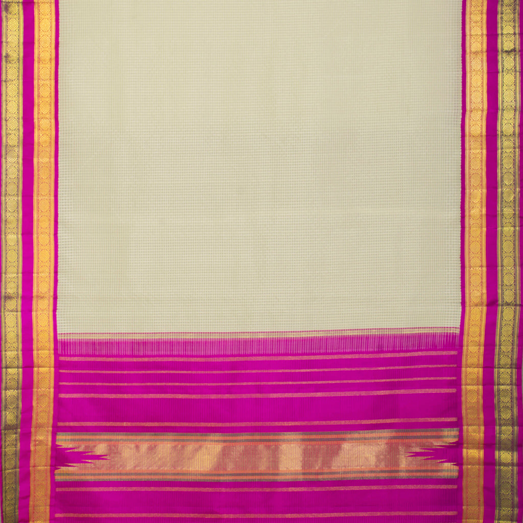 BB111465-White Korvai Checkered Kanjivaram Silk Handloom Saree
