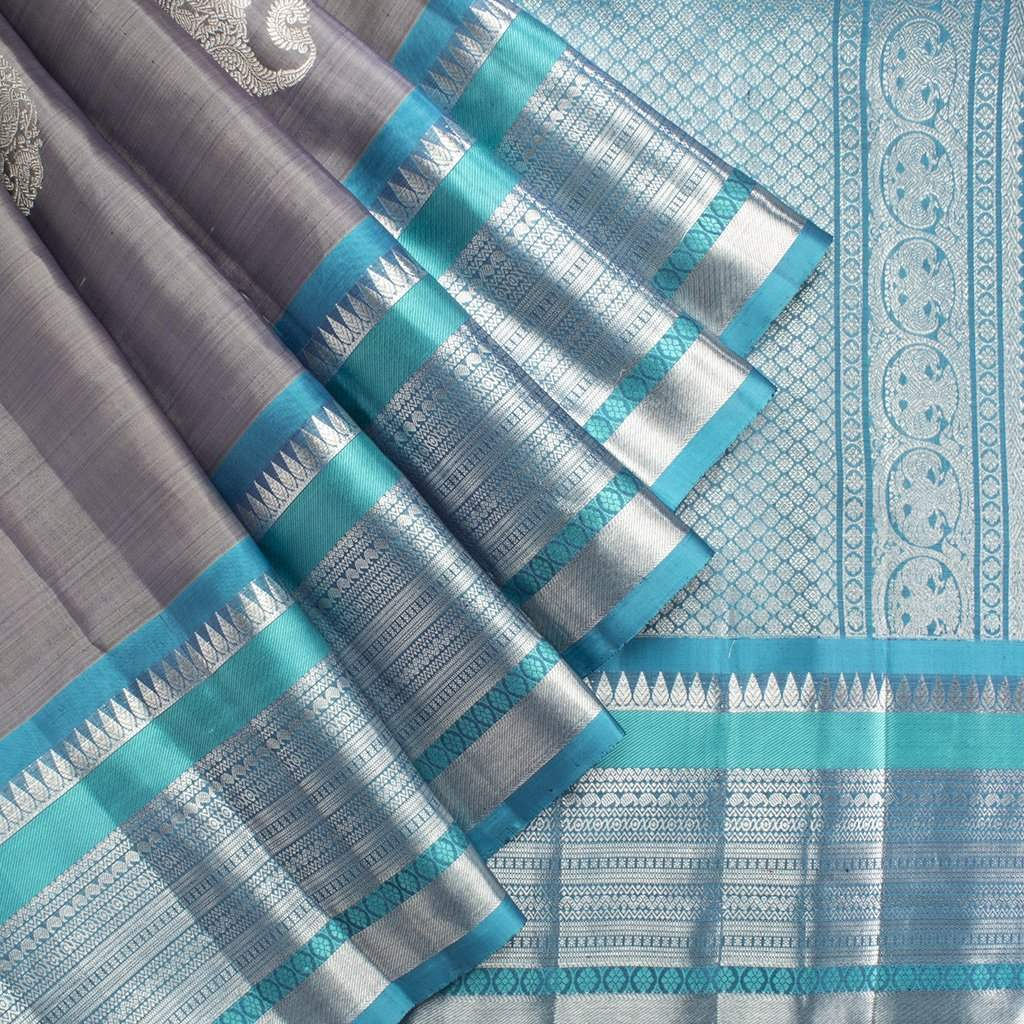 buy Ash Grey Kanjivaram Silk Handloom Saree With Big Border Online