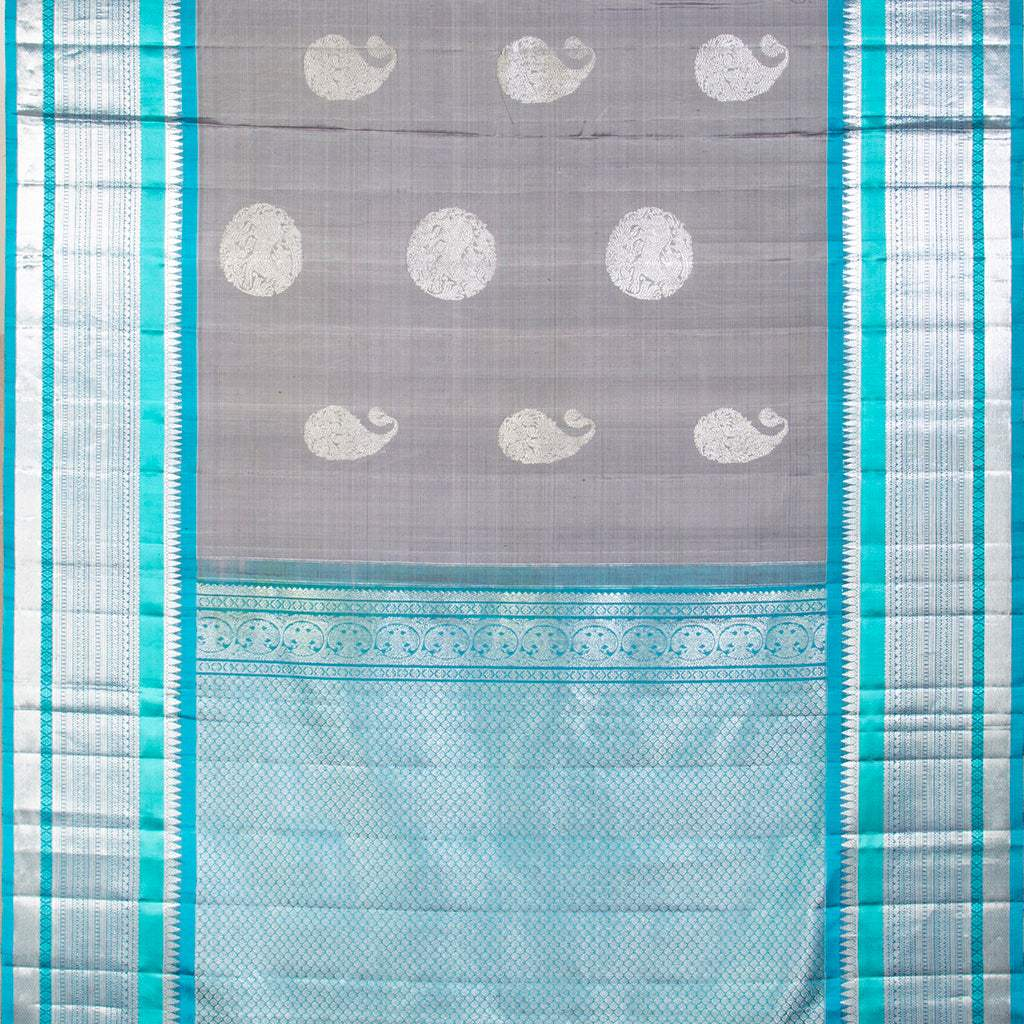 Ash Grey Kanjivaram Silk Handloom Saree With Big Border