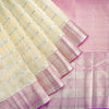 Parchment-White-Checkered-Kanjivaram-Silk-Handloom-Saree