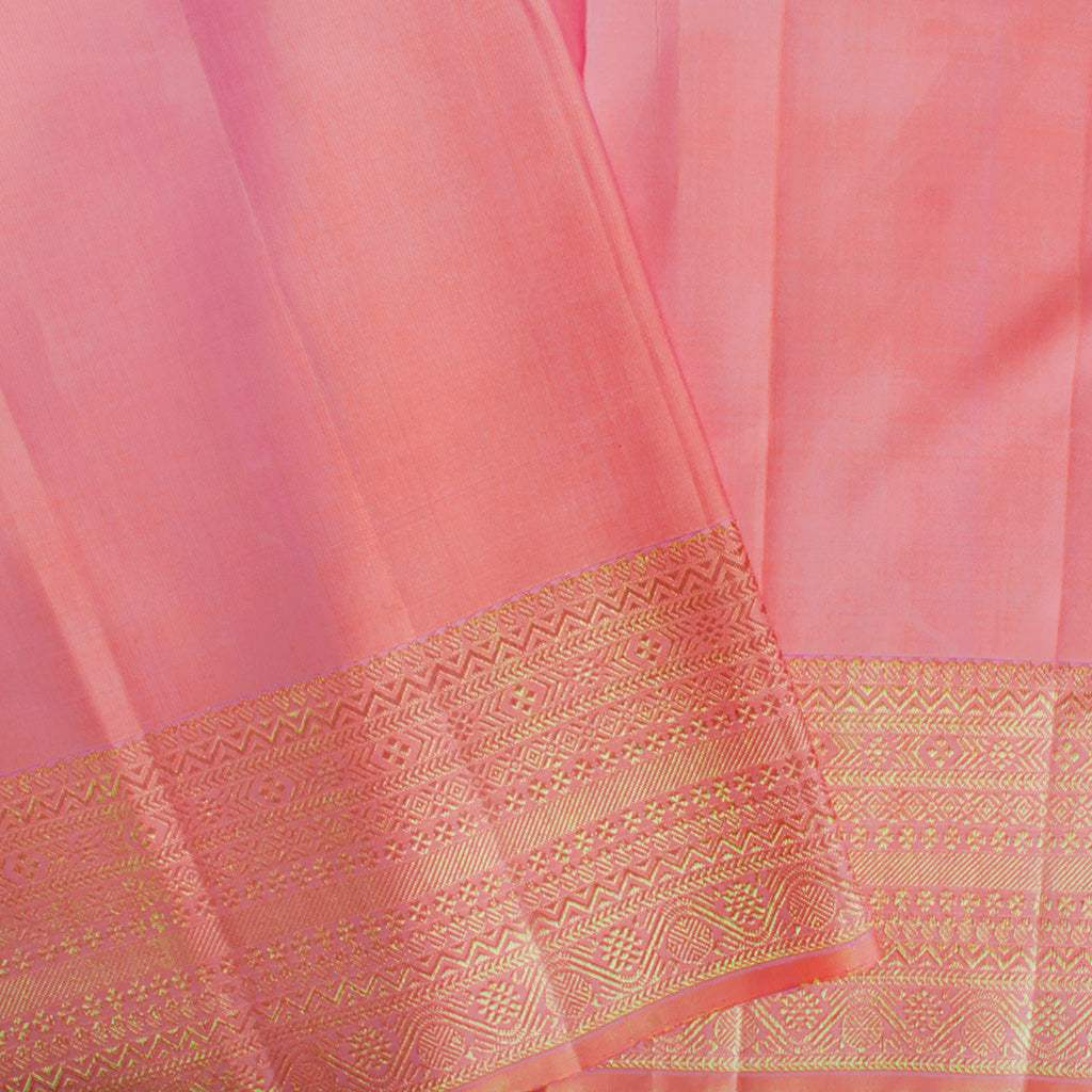 BB111632-Melon Pink Kanjivaram Silk Handloom Saree With Selfcolor Border