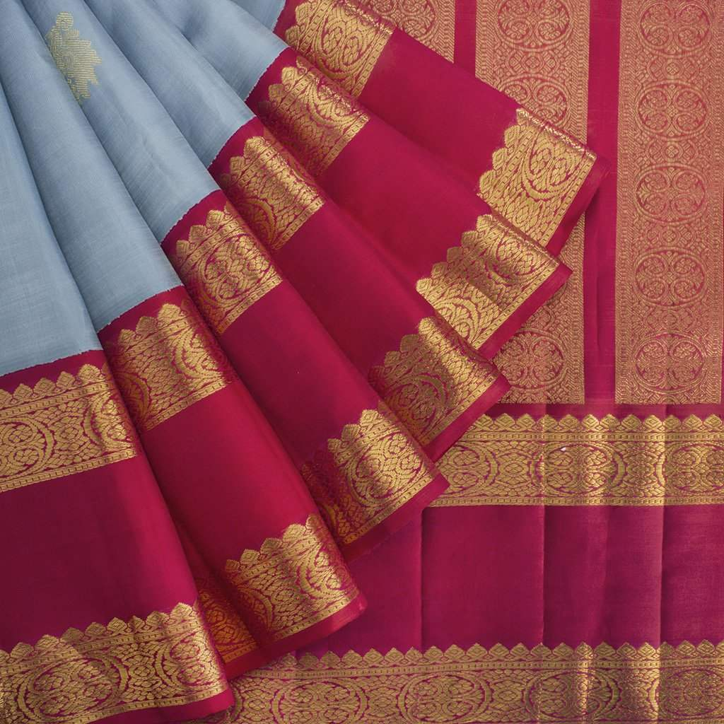 buy Celestial Blue Kanjivaram Silk Handloom Saree With Big Border Online