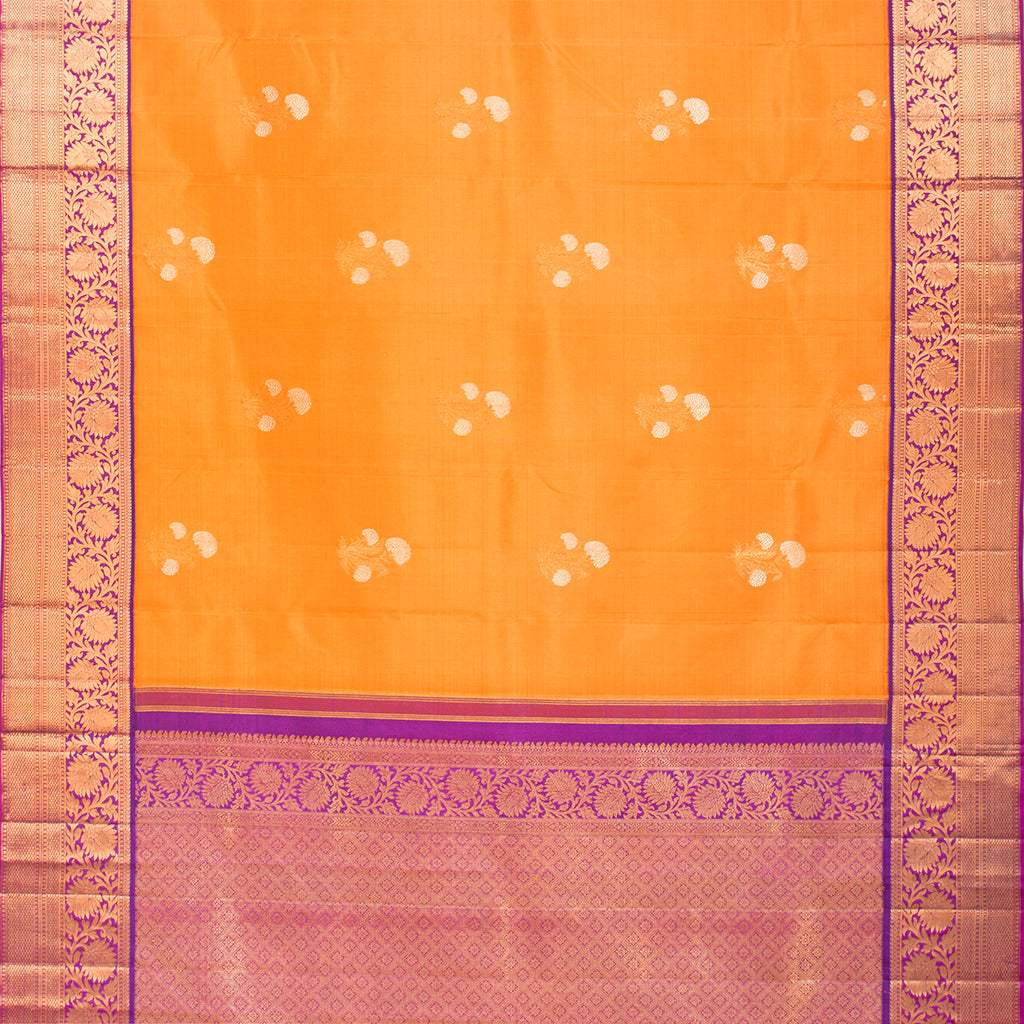 Canary Yellow Korvai Kanjivaram Silk Handloom Saree