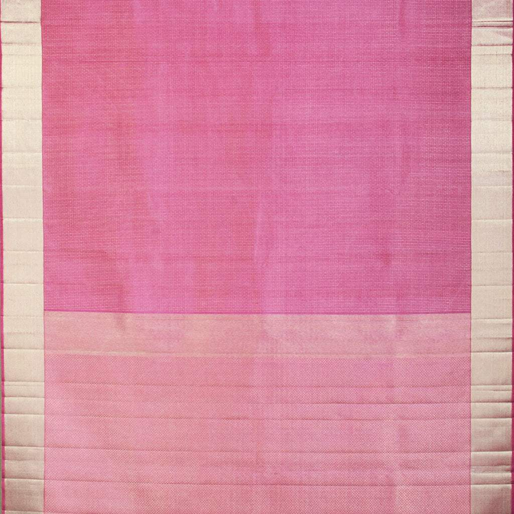 Bubblegum Pink Kanjivaram Silk Handloom Saree With Selfcolor Border