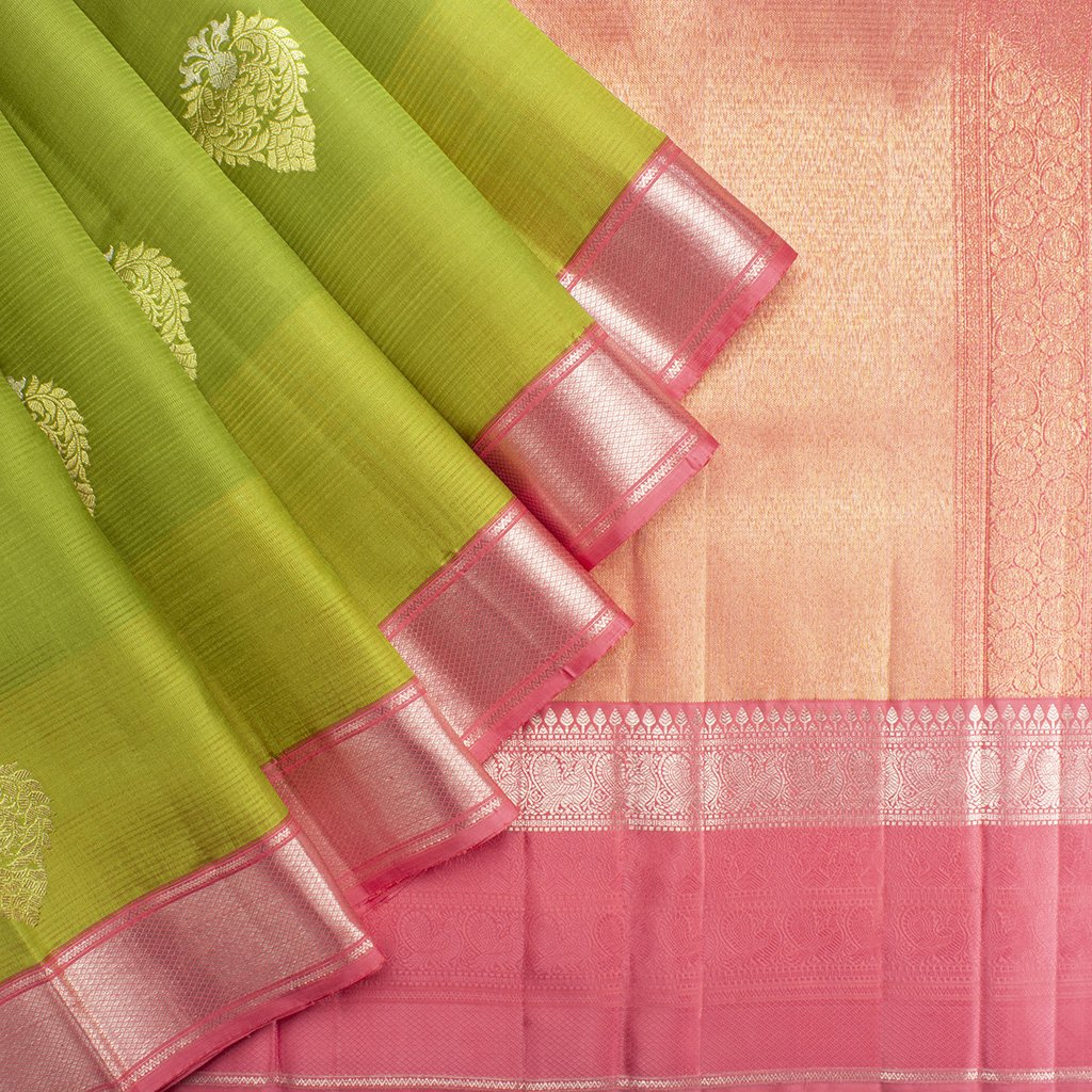Pear-Green-Kanjivaram-silk-Handloom-Saree