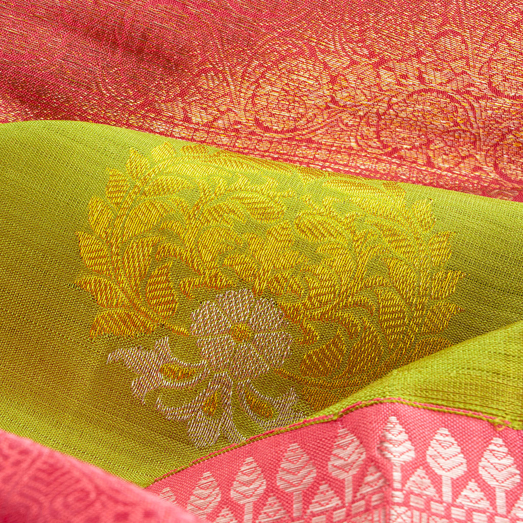 Pear Green Korvai Kanjivaram Silk Handloom Saree