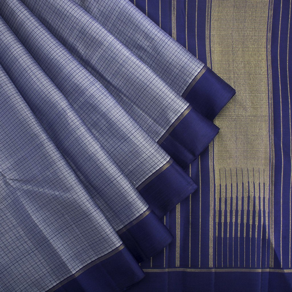 Maya-Blue-Checkered-Kanjivaram-Silk-Handloom-Saree
