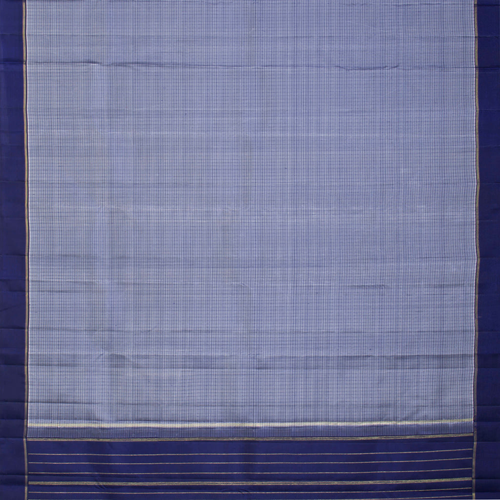 Maya Blue Checkered Kanjivaram Silk Handloom Saree