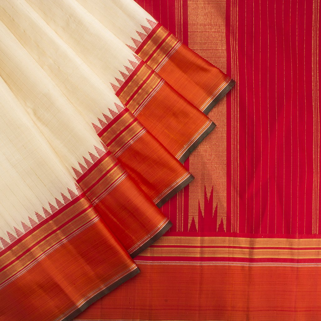 buy White Gadwal Silk Handloom Saree Online