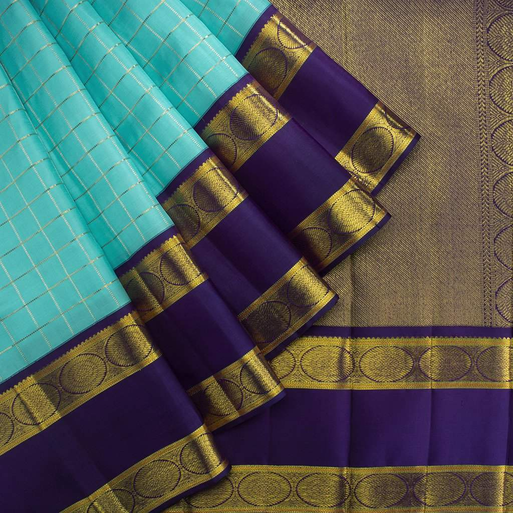 Cyan-Blue-Checkered-Kanjivaram-Silk-Handloom-Saree