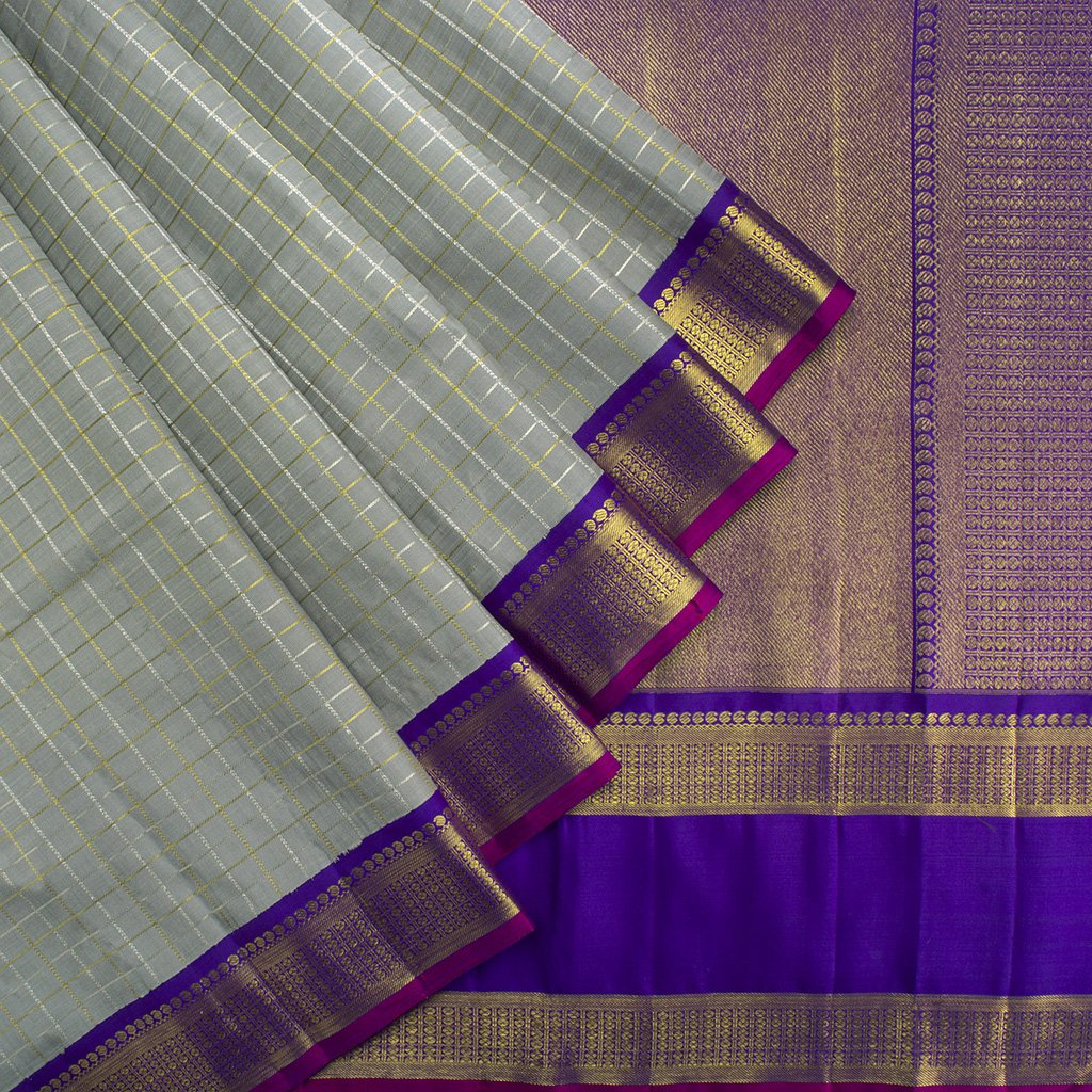 Grey-Checkered-Kanjivaram-Silk-Handloom-Saree