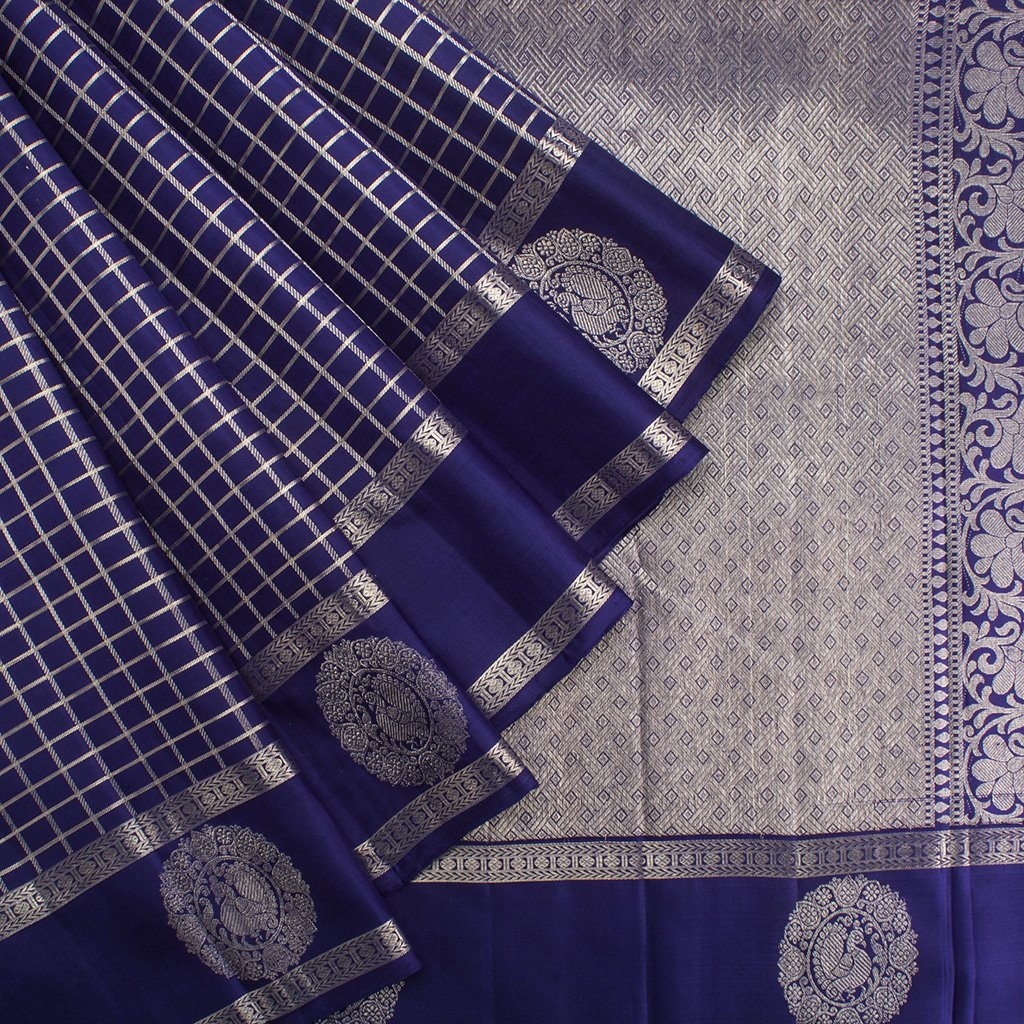 Royal-Blue-Kanjivaram-Silk-Handloom-Saree-With-Selfcolor-Border