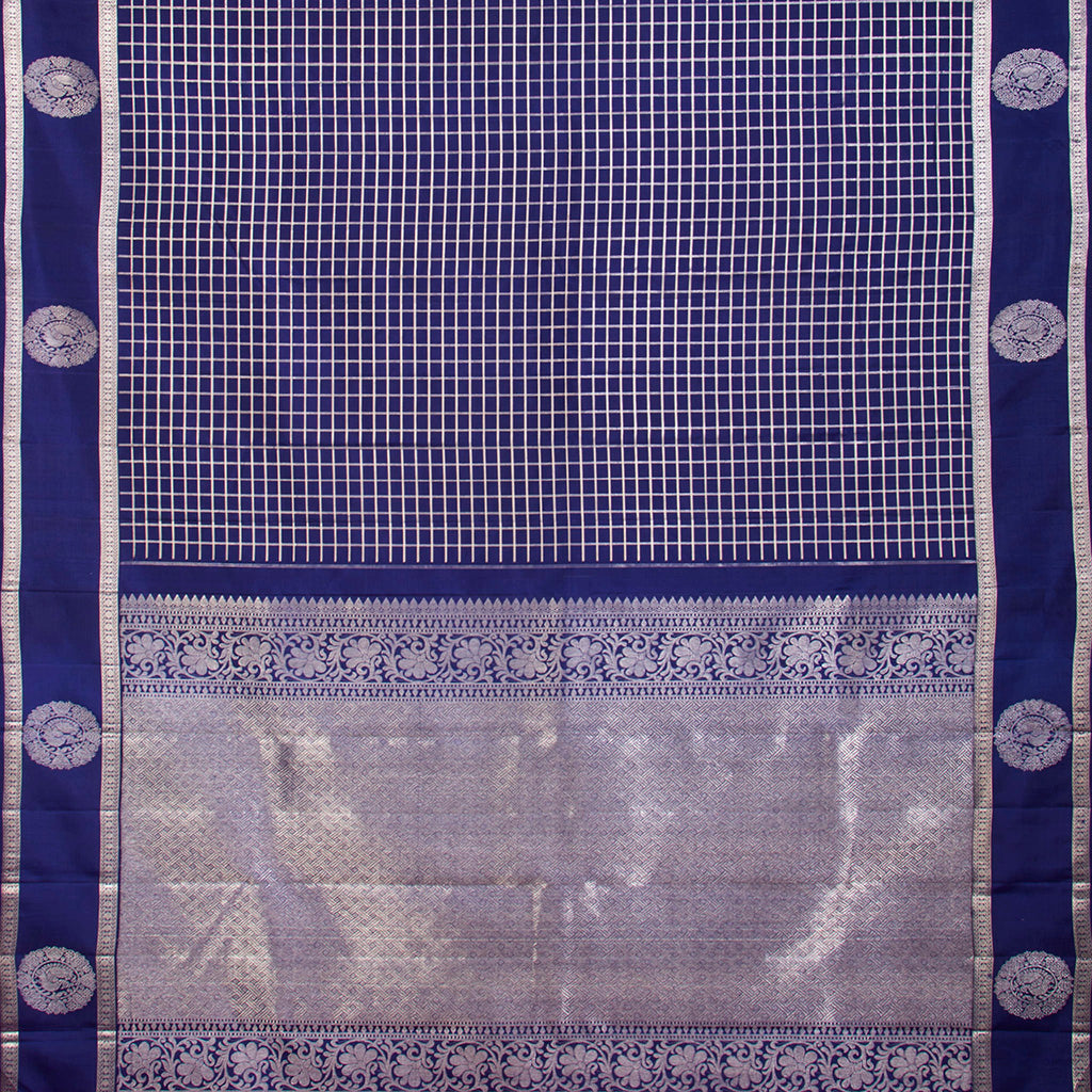Royal Blue Kanjivaram Silk Handloom Saree With Selfcolor Border