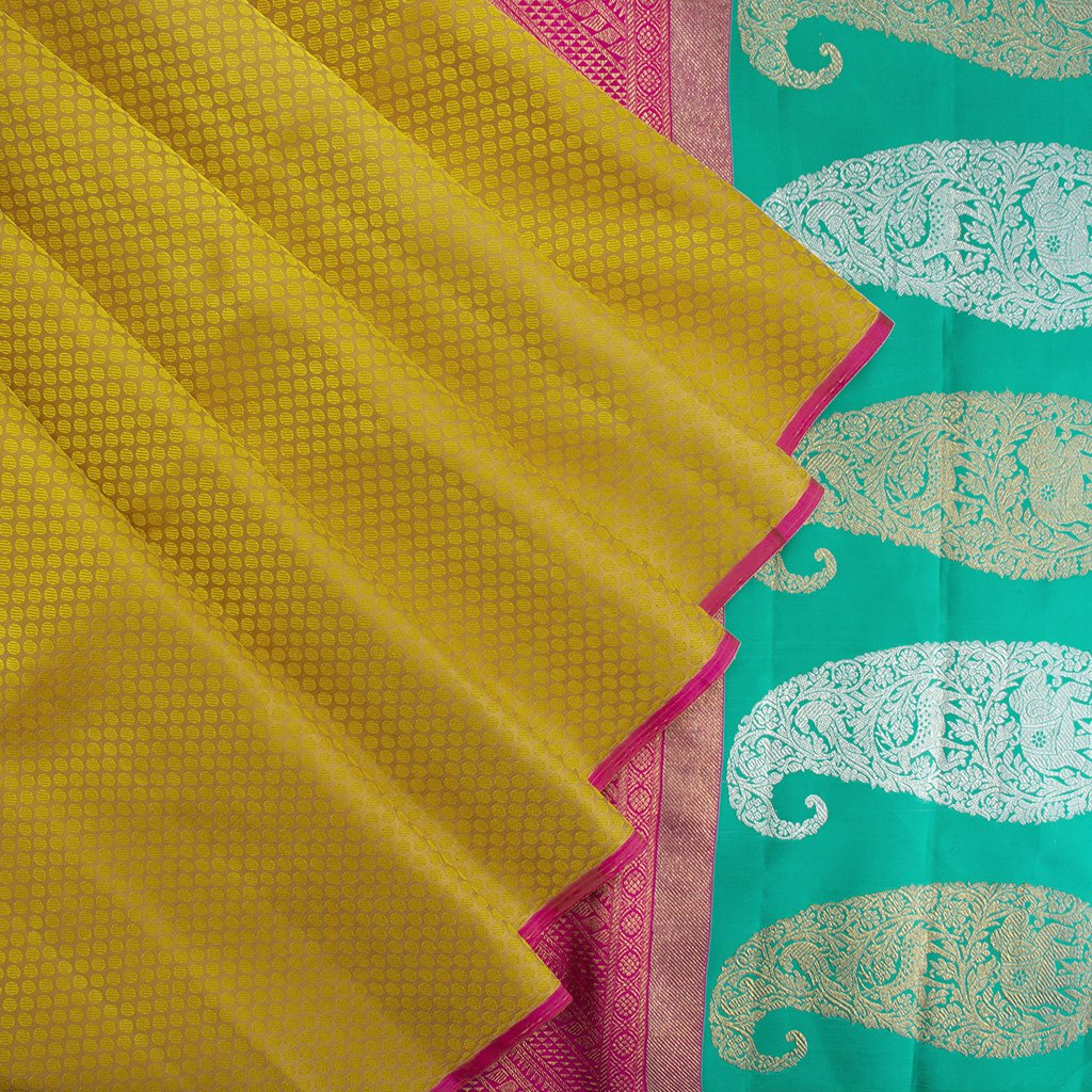 Medallion-Yellow-Borderless-Kanjivaram-silk-Handloom-Saree