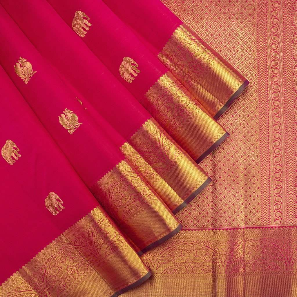 Vivid-Red-Kanjivaram-Silk-Handloom-Saree-With-Selfcolor-Border