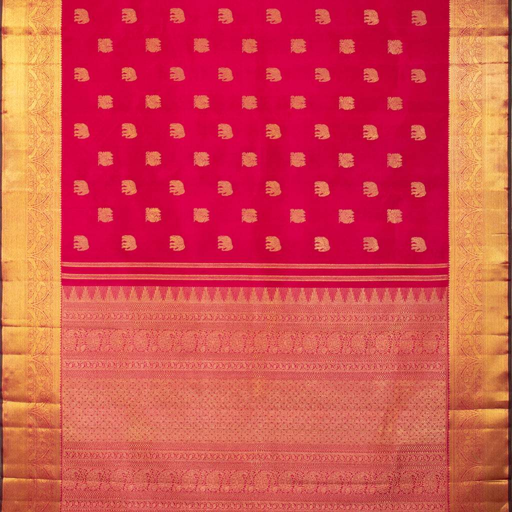 BB112101-Vivid Red Kanjivaram Silk Handloom Saree With Selfcolor Border