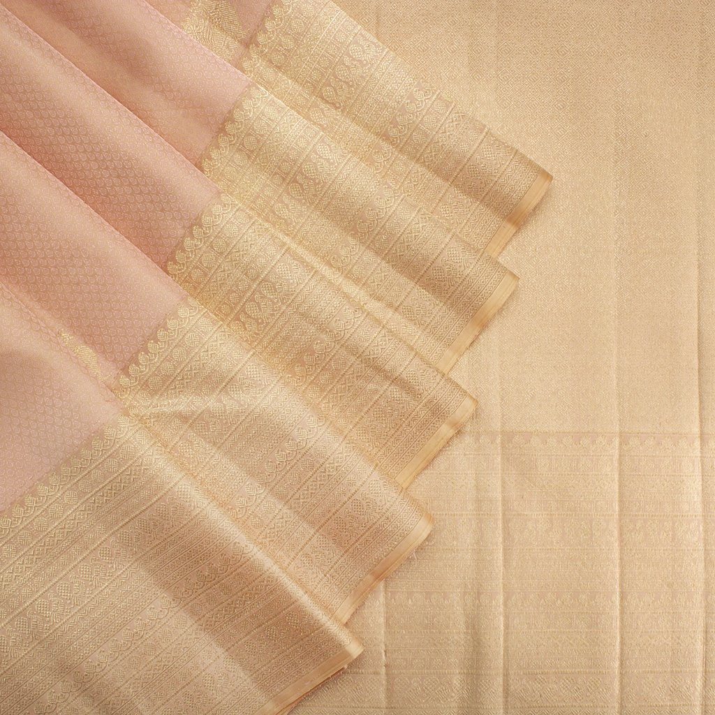 Peach-Kanjivaram-Silk-Handloom-Saree-With-Selfcolor-Border