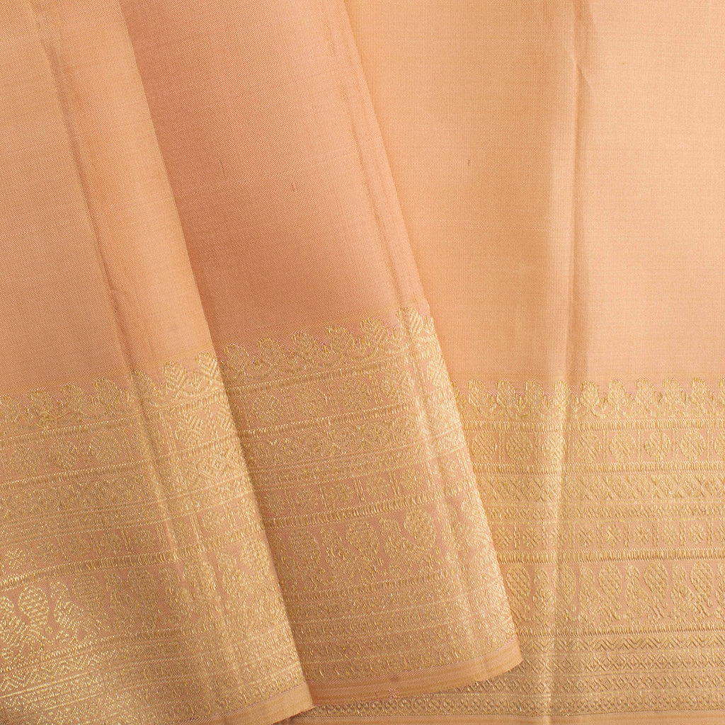 Peach Kanjivaram Silk Handloom Saree With Selfcolor Border