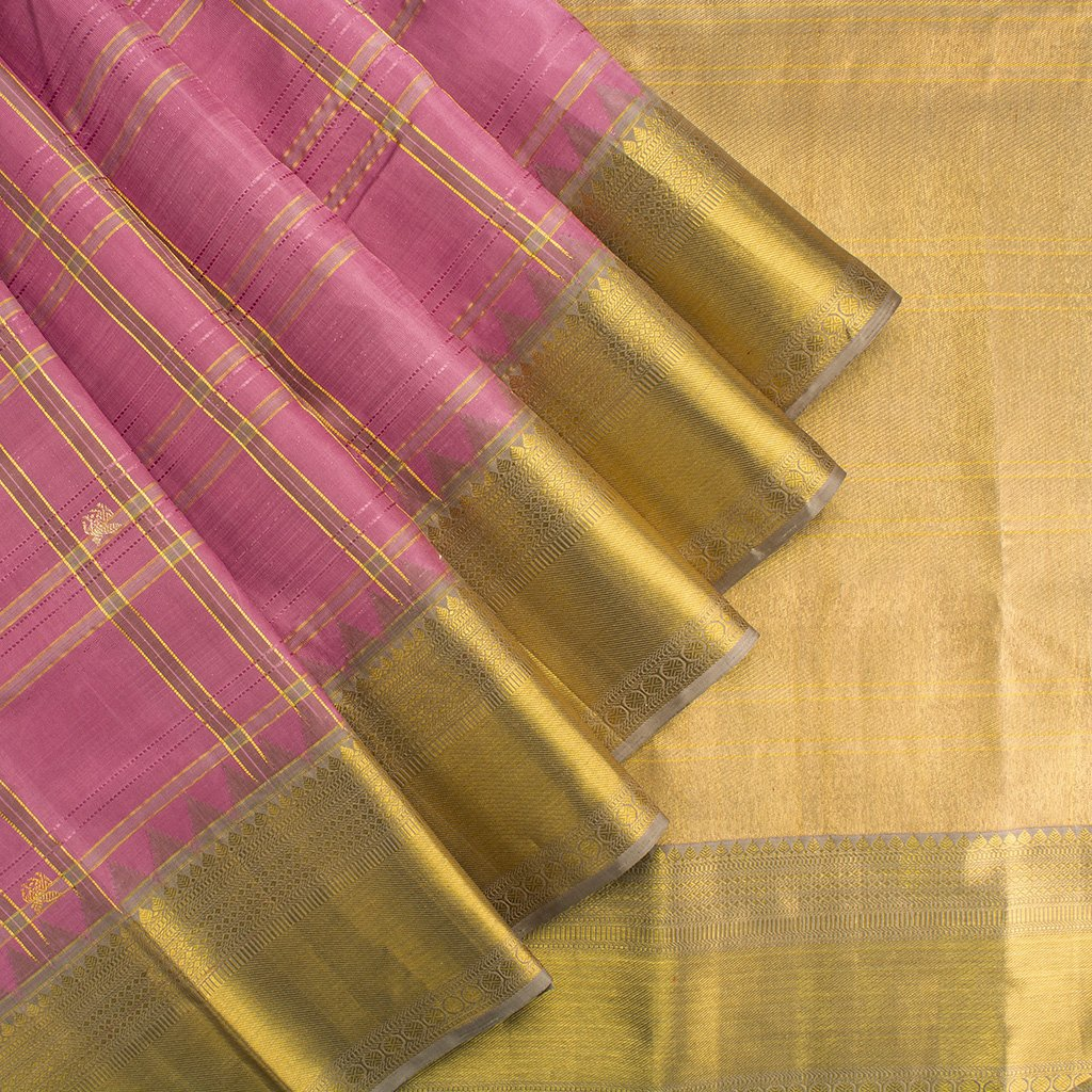 Vivid-Pink-Checkered-Kanjivaram-Silk-Handloom-Saree