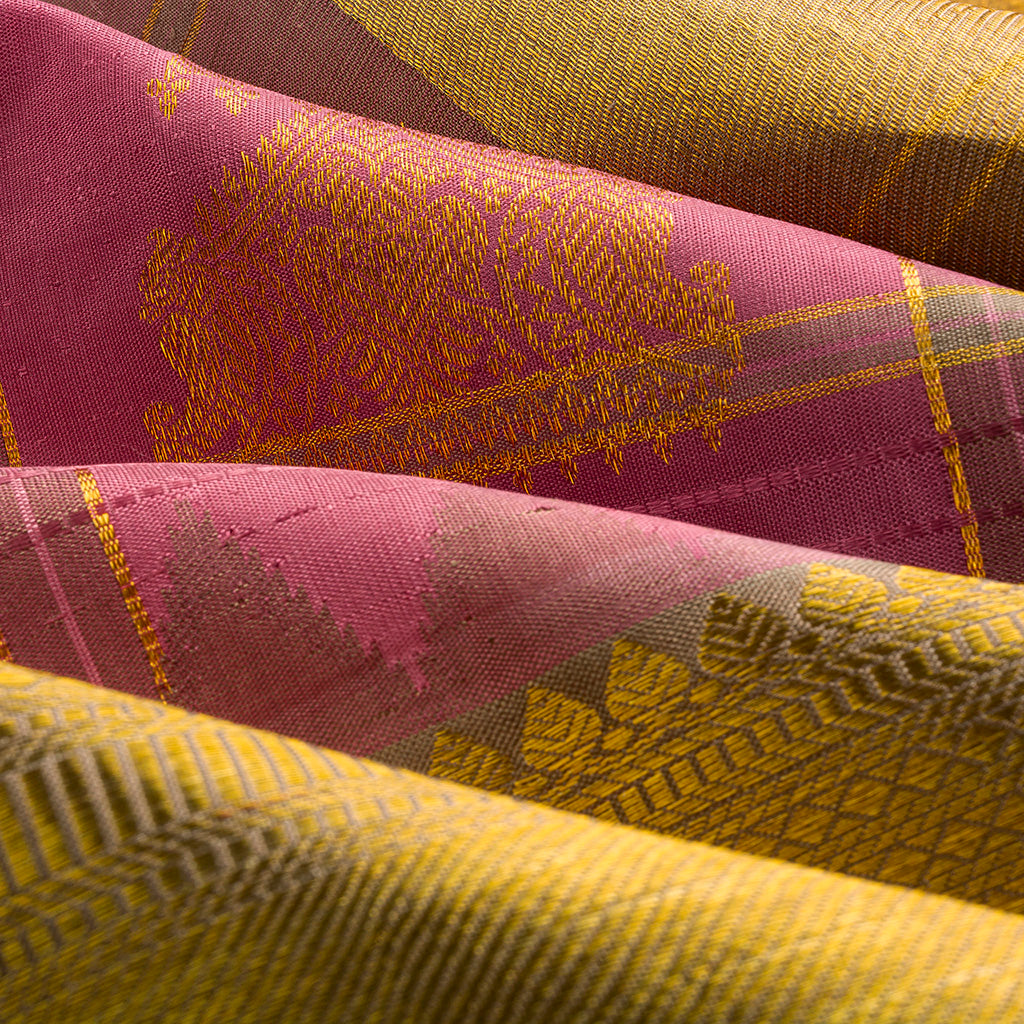 Vivid Pink Checkered Kanjivaram Silk Handloom Saree