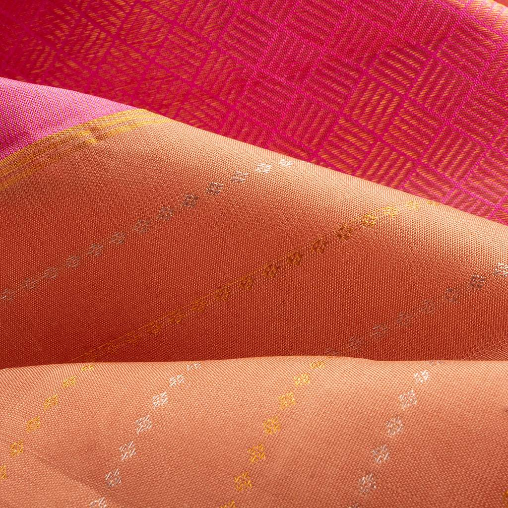 Bronze Orange Borderless Kanjivaram Silk Handloom Saree