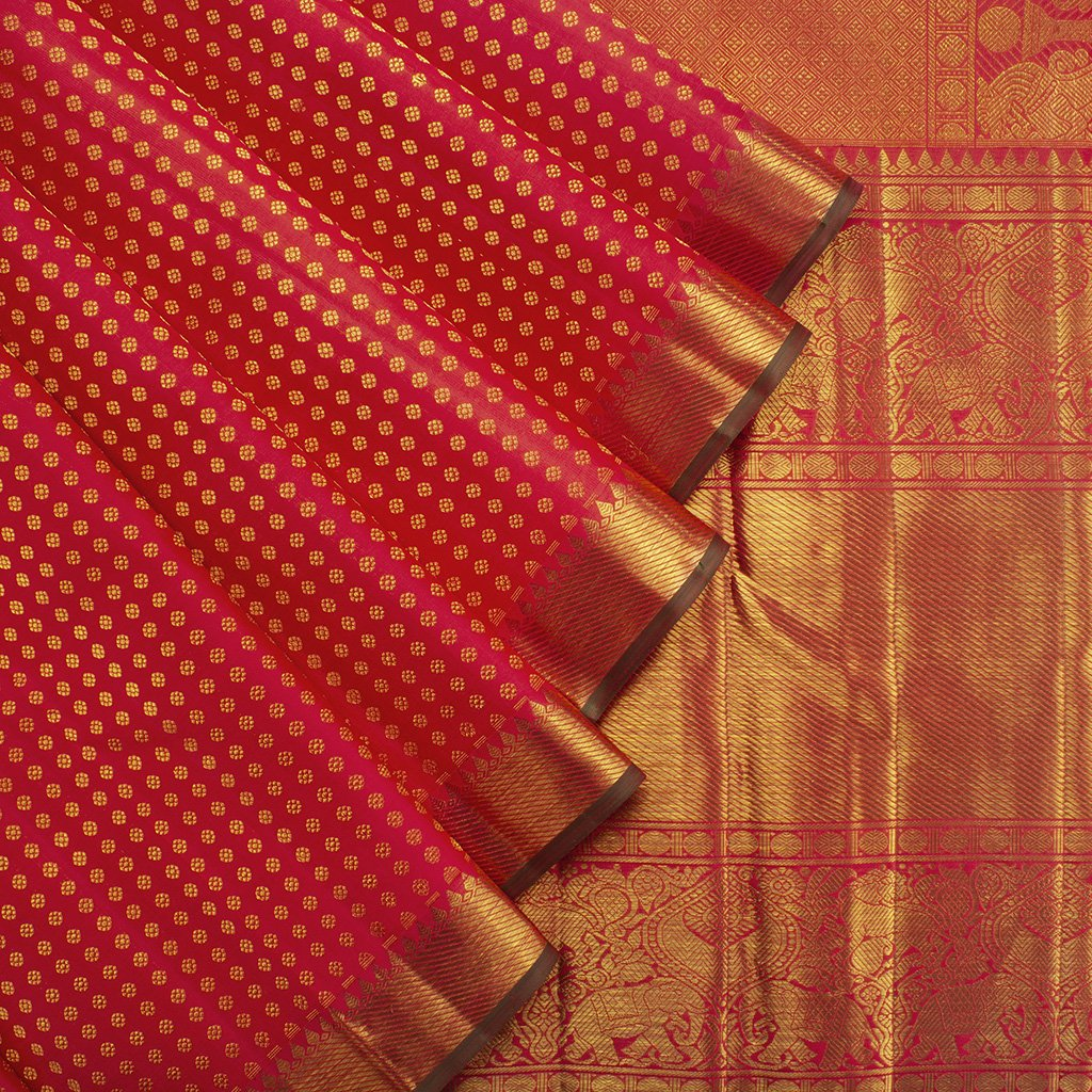 ScarletRed-Kanjivaram-Silk-Handloom-Saree-With-Selfcolor-Border
