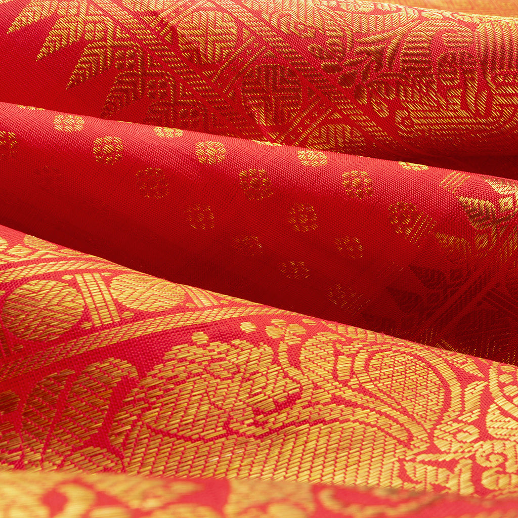 Scarlet Red Kanjivaram Silk Handloom Saree With Selfcolor Border