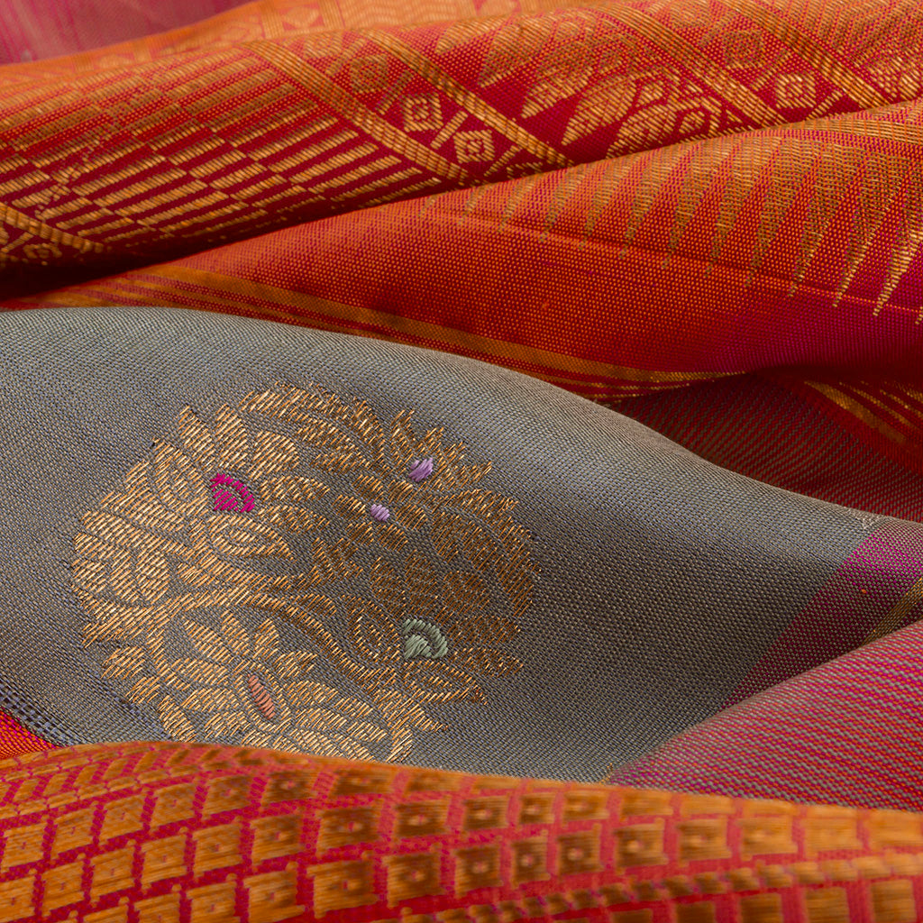BB112162-Deep Grey Korvai Kanjivaram Silk Handloom Saree