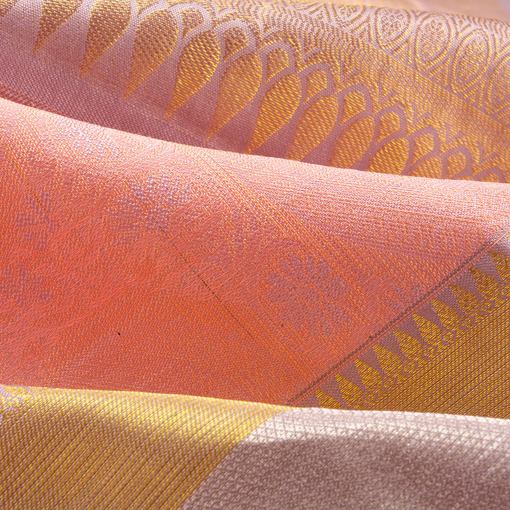 BB112164-Peach Korvai Kanjivaram Silk Handloom Saree