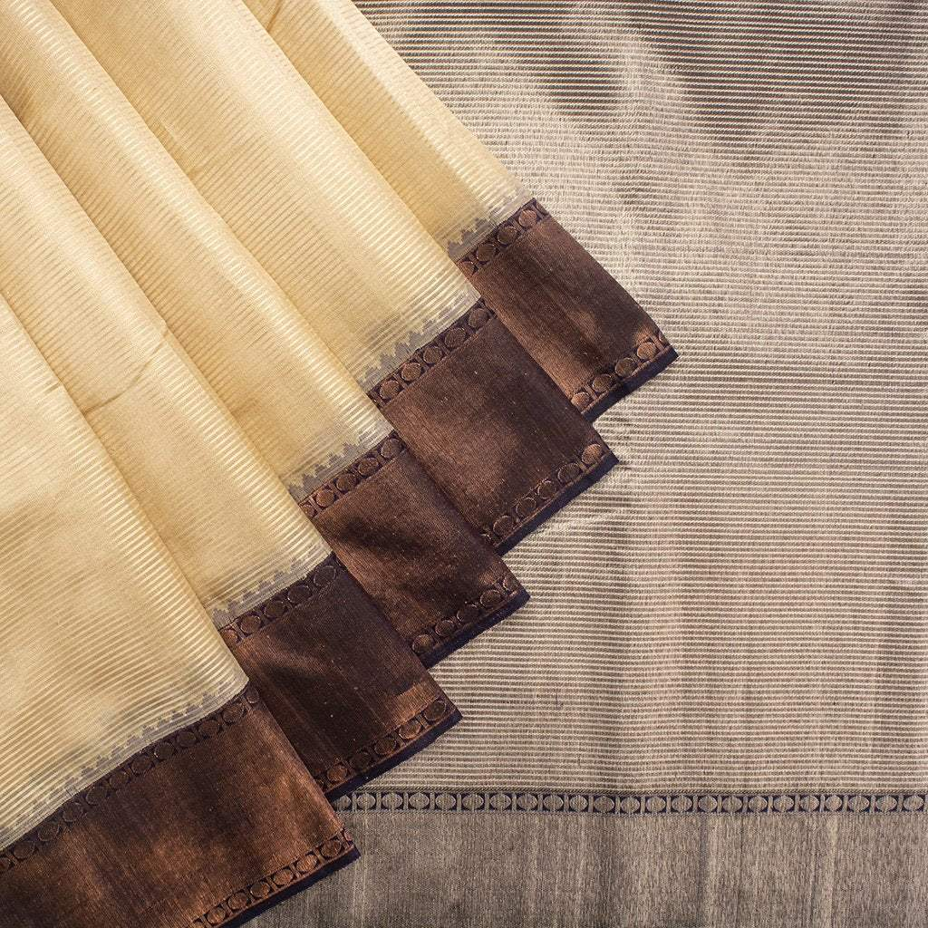 Almond-White-Korvai-Kanjivaram-Silk-Handloom-Saree