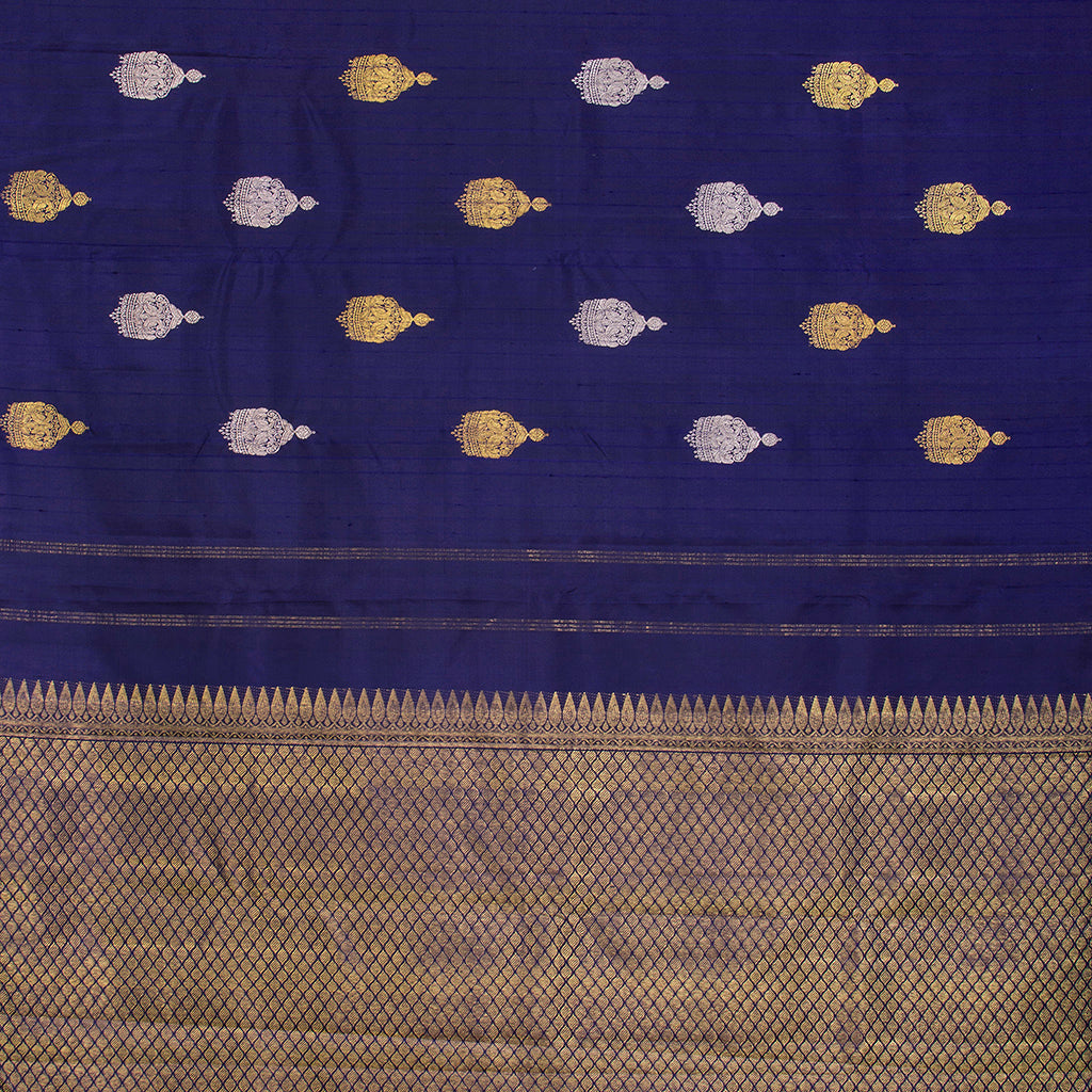 Navy Blue Borderless Kanjivaram Silk Handloom Saree