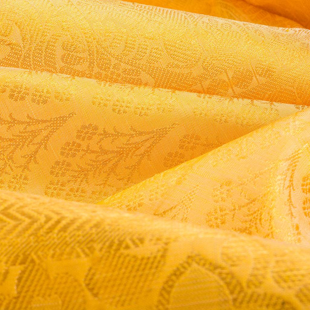 BB112185-Daffodil Yellow Kanjivaram Silk Handloom Saree With Selfcolor Border