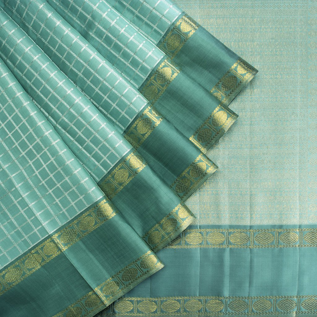 Turquoise-Kanjivaram-Silk-Handloom-Saree-With-Selfcolor-Border