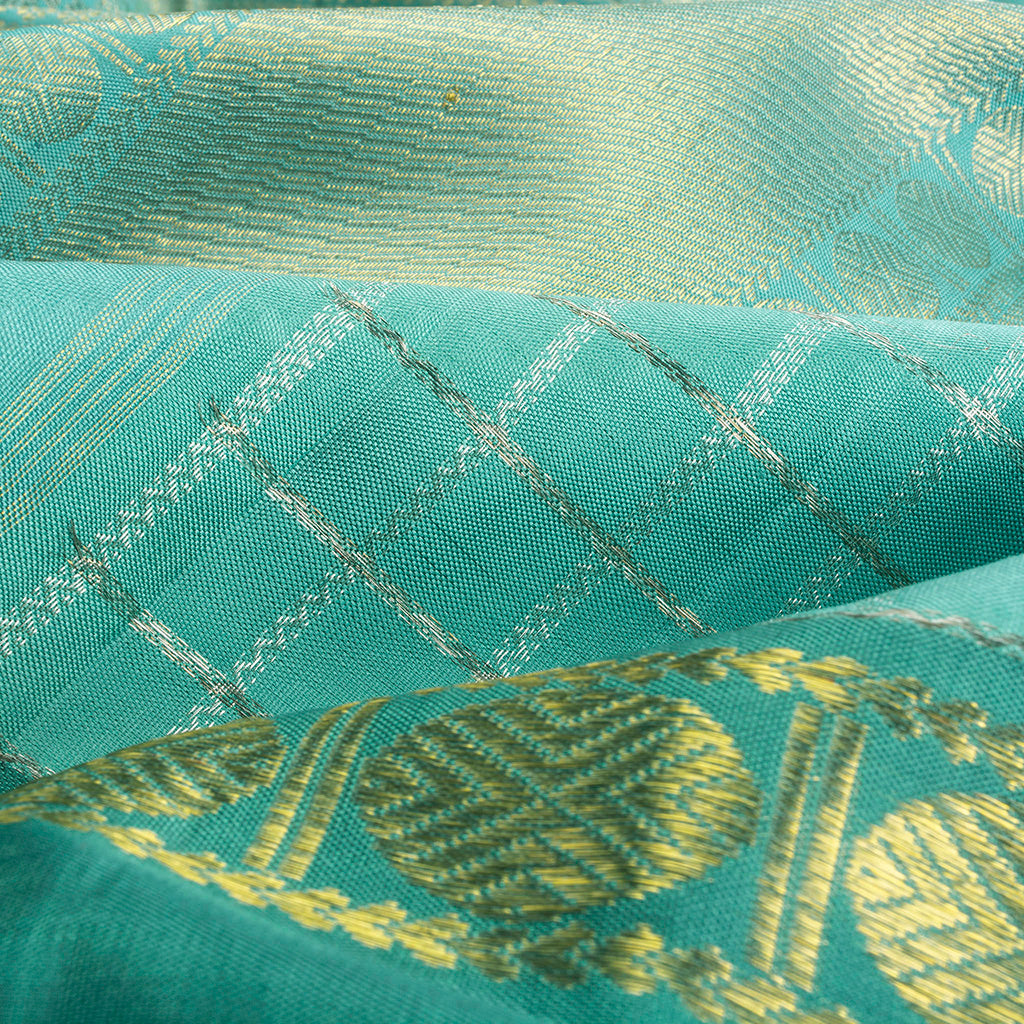 Turquoise Kanjivaram Silk Handloom Saree With Selfcolor Border