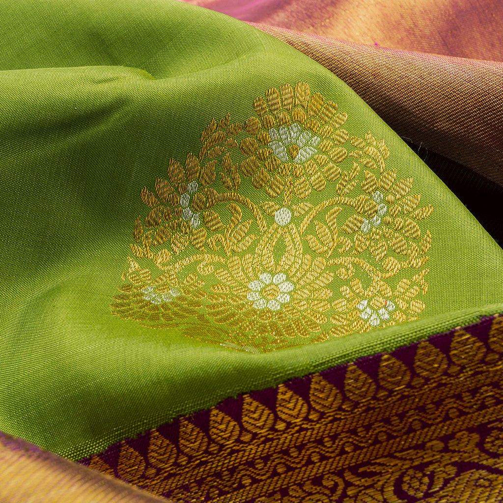 Lime Green Korvai Kanjivaram Silk Handloom Saree