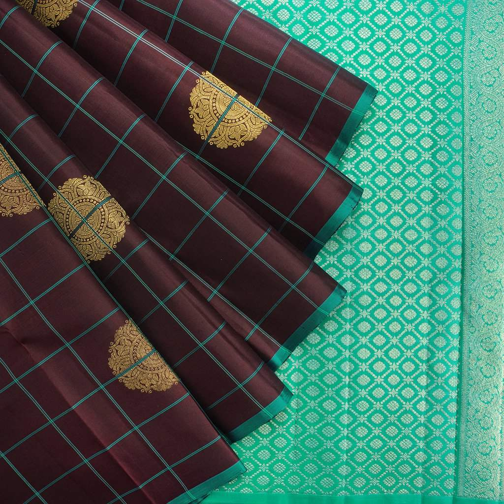 Chocolate-Brown-Borderless-Kanjivaram-Silk-Handloom-Saree
