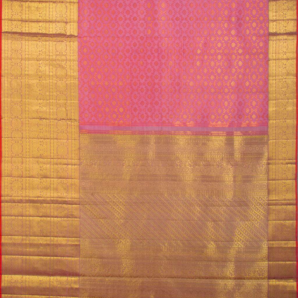 BB112204-Bubblegum Pink Kanjivaram Silk Handloom Saree With Selfcolor Border