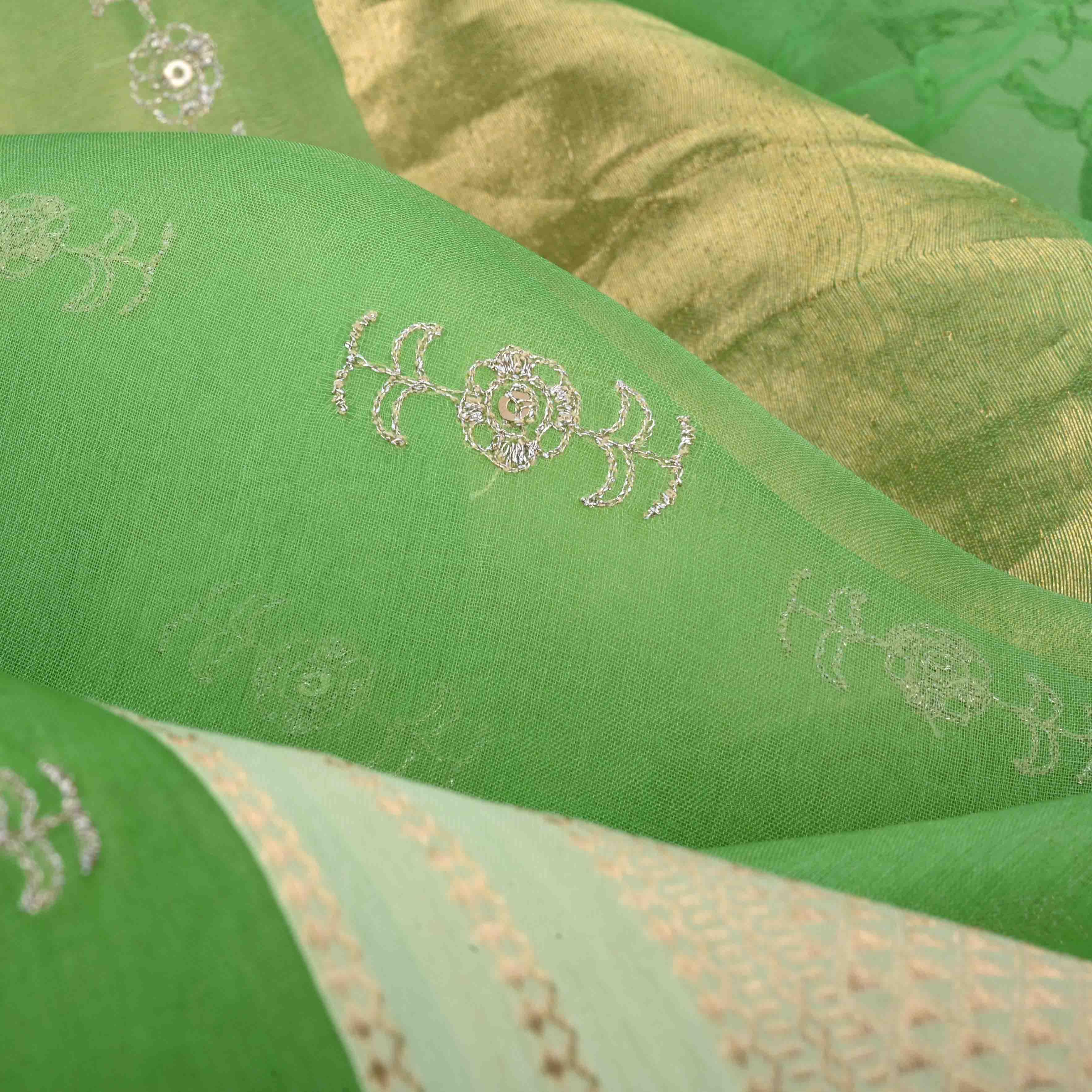 SALE233522-Parrot Green Organza Embroidery Handloom Saree