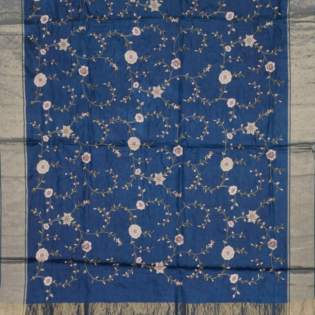 Prussian BlueTussar Embroidery Saree With Floral Motifs-225845 - Singhania's