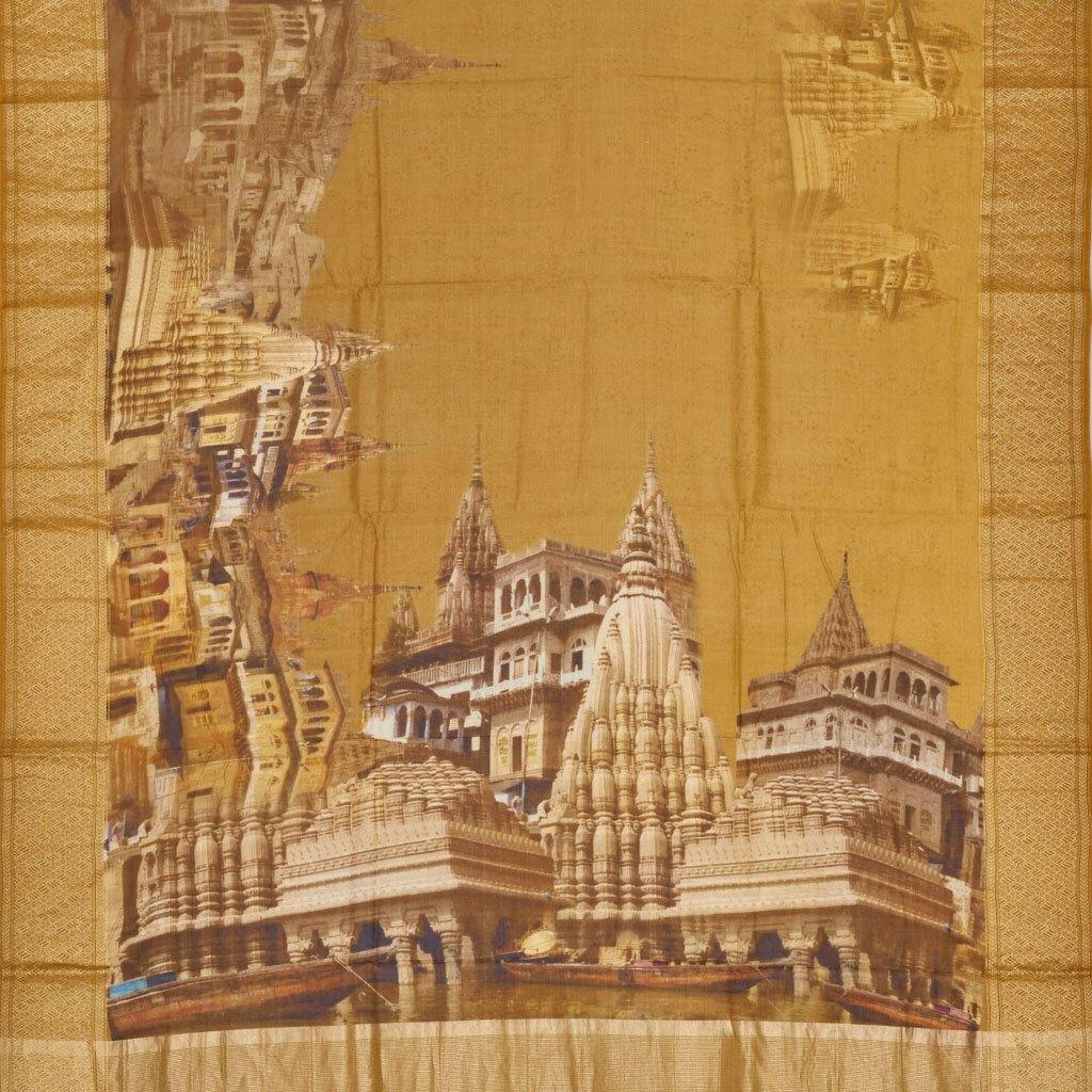 Mustard Yellow Chanderi Printed Saree With Temple Motifs-244997 - Singhania's