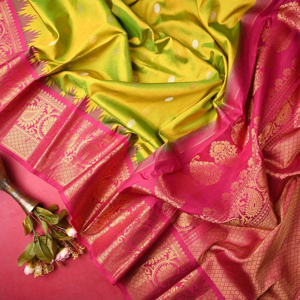 Buy Dual Toned Lime Green Gadwal Silk Hadloom Saree