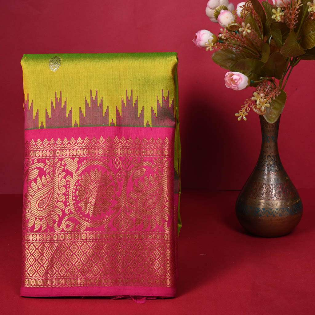 G1-Dual Toned Lime Green Gadwal Silk Hadloom Saree