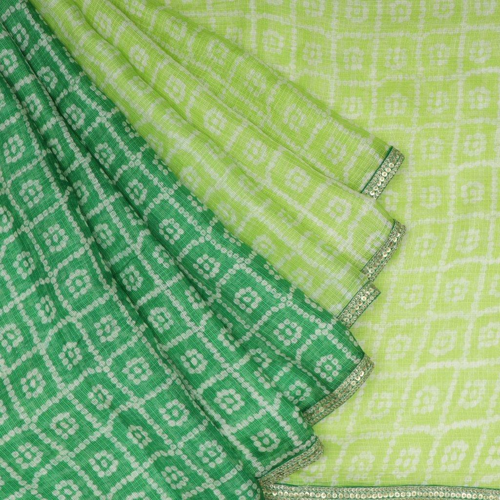 Shades Of Green Bandhani Printed Kota Silk Half And Half Saree