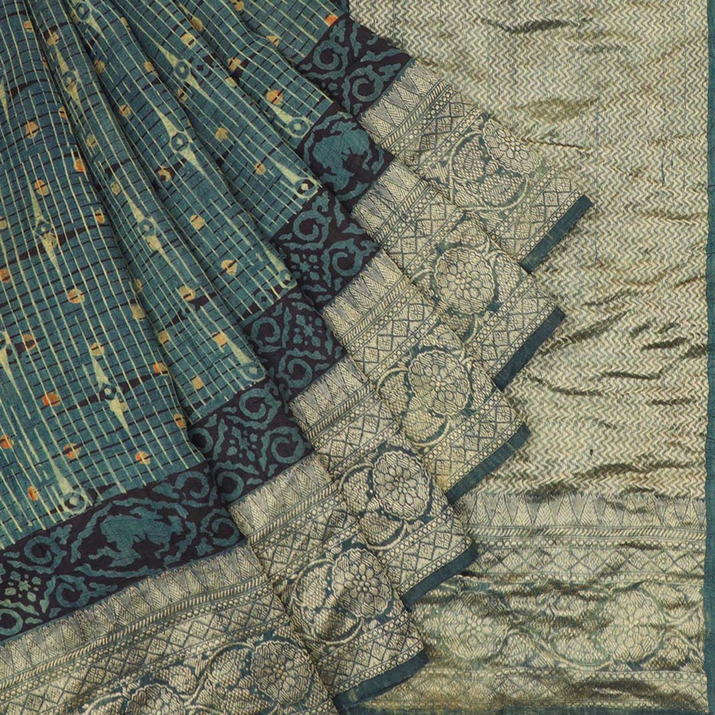 Teal Ajrakh Printed Tussar Silk Saree