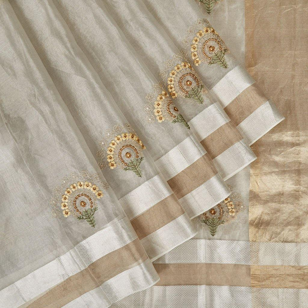 Silver Tissue Organza Embroidery Saree With Floral Buttas-225679 - Singhania's
