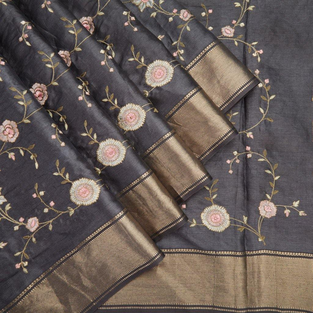 Charcoal Grey Tussar Embroidery Saree With Floral Jaal - Singhania's