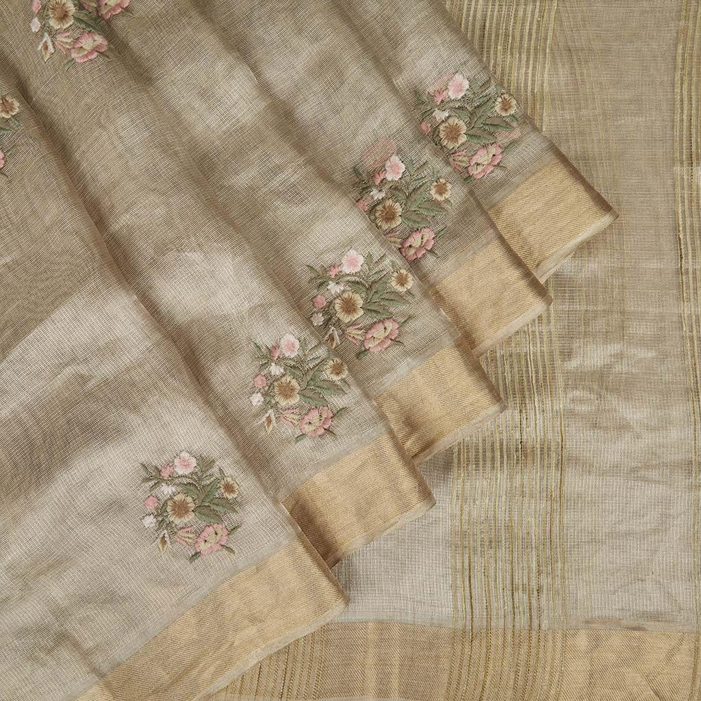 Light Gold Tissue Silk Embroidery Saree With Floral Motifs-225726 - Singhania's