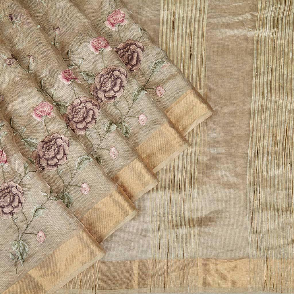 Light Gold Tissue Silk Embroidery Saree With Floral Motifs-225720 - Singhania's