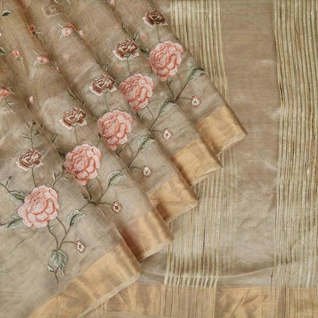 Light Gold Tissue Silk Embroidery Saree With Floral Motifs-225718 - Singhania's