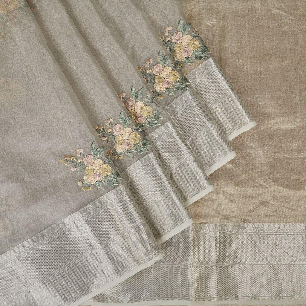 Silver Tissue Organza Embroidery Saree With Floral Motifs-225669 - Singhania's